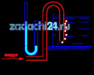 С целью замера высоты уровня жидкости в открытом резервуаре установлена вертикальная труба с открытым нижним концом, который почти доходит до днища. Сверху в трубу с очень малой скоростью поступает воздух, по давлению которого и судят о положении уровня свободной поверхности жидкости. Вычислить высоту H уровня жидкости над нижним обрезом трубы, если избыточное давление воздуха h=521 мм рт. ст., а плотность жидкости ρsub>ж=1190кг/м³.