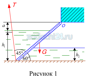 Определить силу давления воды на прямоугольный щит (рис.1) и положение центра давления. Глубина воды перед щитом h1=3м, за щитом h2=1,8м, ширина щита В=3м. Найти начальное усилие Т, которое нужно приложить к тросу, направленному под углом 45º к щиту, если масса щита m=50 кг.Трением в шарнире О пренебречь. Превышение шарнира над горизонтом воды а=0,3 м. Угол наклона щита к горизонту 60º.