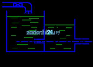 В бак, разделенный тонкой перегородкой на два отсека (рис.30), поступает расход воды Q=0,028 м³/с. В перегородке имеется отверстие диаметром d1=0,1 м. Из второго отсека вода выливается наружу через цилиндрический насадок диаметром d2=0,075 м. Определить глубину воды в отсеках над центром отверстий.
