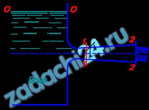 Жидкость вытекает из открытого резервуара в атмосферу через трубу, имеющую плавное сужение до диаметра d1, а затем постепенное расширение до d2. Истечение происходит под действием напора Н=3 м. Пренебрегая потерями энергии, определить абсолютное давление в узком сечении трубы 1-1, если соотношение диаметров d2/d1=√2; атмосферное давление соответствует ha=750 мм рт.ст.; плотность жидкости ρ=1000 кг/м³. Найти напор Нкр, при котором абсолютное давление в сечении 1-1 будет равно нулю. Указание. Уравнение Бернулли следует записать два раза, например для сечения 0-0 и 2-2, а затем для сечений 1-1 и 2-2.