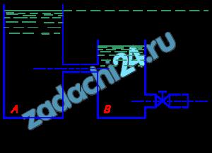 Из бака A, в котором поддерживается постоянный уровень, вода протекает по цилиндрическому насадку диаметром d в бак B, из которого сливается в атмосферу по короткой трубе диаметром D, снабженной краном (рис.13). Определить наибольшее значение коэффициента сопротивления крана ξ, при котором истечение из насадка будет осуществляться в атмосферу. Потери на трение в трубе не учитывать.