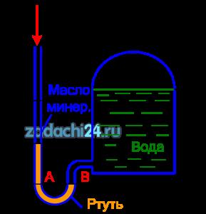 Определить абсолютное давление в сосуде по показанию жидкостного манометра, если известно: h1=2 м; h2=0,5 м; h3=0,2 м; ρм=880 кг/м³.