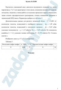 Рассчитать смешанный цикл двигателя внутреннего сгорания, т.е. найти параметры p, V и T для характерных точек цикла, изменение внутренней энергии, энтальпии, энтропии, а также работу в отдельных процессах и цикле. Определить также степень предварительного расширения, степень повышения давления и термический КПД цикла. Параметры выбрать из таблицы 1. Дополнительные данные для расчета: начальный объем - V1=0,001 м³; количество теплоты, подводимой в изобарном процессе - Qp=1,05 кДж; количество теплоты, подводимой в изохорном процессе - Qυ=0,65 кДж; удельные теплоемкости - ср=1,15 кДж/(кг·К), сυ=0,85 кДж/(кг·К); показатель адиабаты k=1,4; удельная газовая постоянная R=0,330 кДж/(кг·К). Степень сжатия ε. Изобразить цикл в p-V и T-s - диаграммах.