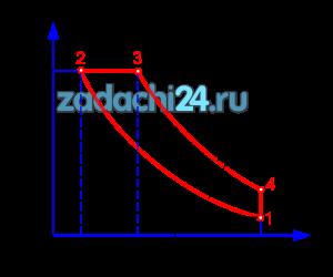 Для цикла с подводом теплоты при p=const (рис.1) найти параметры в характерных точках, полезную работу, термический к.п.д., количество подведенной и отведенной теплоты, если дано: р1=0,1 МПа; t1=20ºC; ε=12,7; k=1,4. Рабочее тело - воздух. теплоемкость считать постоянной.