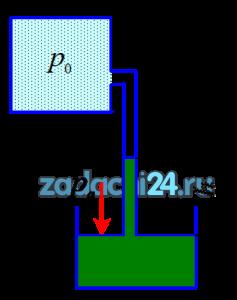 Определить абсолютное давление р0 в закрытом резервуаре, если в трубке, присоединенной к резервуару, ртуть поднялась на h=0,2 м. Атмосферное давление ра=0,1 МПа, плотность ртути ρрт=13600 кг/м³.