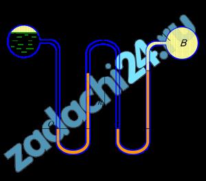 Найти абсолютное давление воздуха в сосуде B, если избыточное давление на поверхности воды в сосуде А равно p, а уровни жидкостей в трубках равны h, h1 и h2. Плотности жидкостей: вода - 1000 кг/м³; спирт - 800 кг/м³; ртуть - 13600 кг/м³. Результат выразить в Па и в кгс/см².