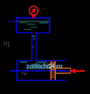 Определить силу F, которую необходимо приложить к штоку поршня для удержания в равновесии, если мановаккууметр показывает давление выше атмосферного ризб=35 кПа. Диаметр поршня d=150 мм, высота Н=1,85 м, плотность жидкости ρ=920 кг/м³.