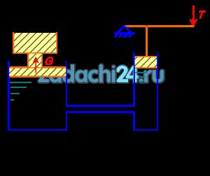 Определить диаметр D большого поршня гидравлического пресса, находящегося в равновесии, если сжимающее усилие большого поршня G=40 кг, усилие на рукоятке рычага Т=60 кг, диаметр d=0,2 м, плечи рычага а=0,3 м; b=0,6 м. Разностью в высотном положении поршней и их весом пренебречь.