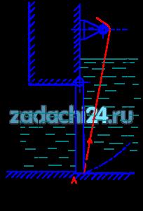 Прямоугольный поворотный щит (рис.1.2) шириной В=4 м и высотой Н закрывает выпускное отверстие плотины. Справа от щита уровень воды Н1, слева Н2, плотность воды ρ=1000 кг/м³. 1 Определить начальную силу Т натяжения троса, необходимую для открытия щита, если пренебречь трением в цапфах. 2 С какой силой Р щит прижимается к порогу А в закрытом положении, если принять, что по боковым сторонам щита опоры отсутствуют? 3 Построить результирующую эпюру гидростатического давления на щит, предварительно построив эпюры давления на щит слева и справа.