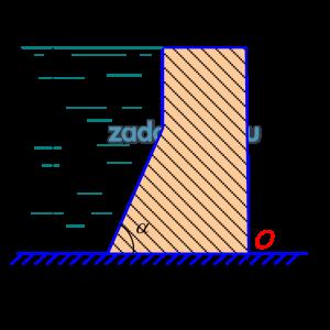 Найти вертикальную и горизонтальную силы давления воды на 1 м длины плотины (рис.9), а также опрокидывающий момент относительно точки О, если Н=5 м, b=1 м, α=60º.