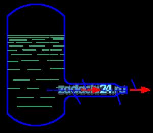 Из напорного бака вода течет по трубе диаметром d1=20 мм и затем вытекает в атмосферу через насадок (брандспойт) с диаметром выходного отверстия d2=10 мм. Избыточное давление воздуха в баке р0=0,18 МПа; высота Н=1,6 м. Пренебрегая потерями энергии, определить скорости течения воды в трубе υ1 и на выходе из насадка υ2.