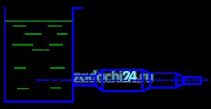 Истечение воды из бака A происходит по системе труб переменного сечения (рис.15). Пренебрегая сопротивлениями, определить скорость истечения, расход воды и построить пьезометрическую линию, если напор Н=5 м, а диаметры труб d1=100 мм, d2=150 мм, d3=125 мм, d4=75 мм. Напор сохраняется постоянным.