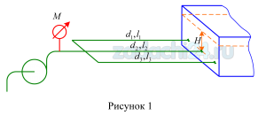 Насос имеющий подачу Q=0,02 м³/c (рис.1), перекачивает воду в резервуар по трем параллельно соединенным трубопроводам. Диаметры труб: d1=0,15 м, d2=0,1 м, d3=0,125 м. Длины труб: l1=410 м, l2=400 м, l3=410 м. Уровень воды в резервуаре Н=2 м. Определить показание манометра, установленного на линии нагнетания. Трубы водопроводные, нормальные. Местные потери составляют 15% от потерь по длине.