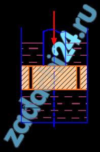 Поршень диаметром D имеет n отверстий диаметром d0 каждое (рис. 6.1). Отверстия рассматривать как внешние цилиндрические насадки с коэффициентом расхода μ=0,82; плотность жидкости ρ=900 кг/м³. Требуется определить скорость υ перемещения поршня вниз, если к его штоку приложена сила F.
