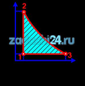 Определить термический к.п.д. цикла (рис.57), состоящего из изохоры, адиабаты и изобары.