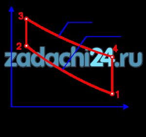 Цикл отнесен к 1 кг воздуха. Принимаем: ср=1,005 кДж/(кг·К); сυ=0,718 кДж/(кг·К); R=287 Дж/(кг·К).  Требуется:  1 Определить параметры p, ∪, T, u, i для основных точек цикла;  2 Построить цикл:  а) в координатах lgυ-lgp;  б) в координатах p-υ;  в) в координатах T-s.  В координатах p-υ и T-s каждый процесс должен быть построен по двум-трем промежуточным точкам;  3) найти n, c, Δu, Δi, Δs, q, Al, l, φ, ξ для каждого процесса входящего в состав цикла;  4) дать схемы протекания каждого процесса, входящего в состав цикла в координатах T-s, и указать графические методы нахождения Δu, Δi, Δs, q, Al, Al0. На схемах должны быть даны все цифровые данные, необходимые для графического определения указанных величин и найдены графически их значения по диаграмме T-s;  5) определить работу цикла Alц, lц, термический к.п.д. и среднее индикаторное давление pt;  6) полученные данные поместить в таблицу 2.1 и 2.2.