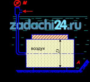 Цилиндрический понтон диаметром D заполнен воздухом, давление которого по манометру - рм. Определить равнодействующую силу давления на торцевую стенку понтона А и расстояние от центра давления до центра тяжести стенки, если глубина погружения центра тяжести в воду равна Н.