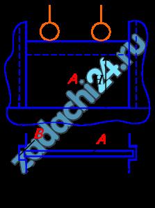 Вертикальный щит А, перекрывающие водослив, может перемещаться в пазах В вверх и вниз. Глубина жидкости Н=1,1+(0,02·3) м, ширина щита b=2,6+(0,05·3) м. Определить силу F, с которой щит прижимается к пазам.