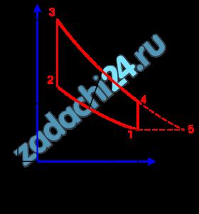 Определить к.п.д. и работу цикла с подводом тепла по изохоре (рис.VII-2), если даны р1абс=1 бар, t1=0 ºC, р3абс=53 бар, р4абс=3?5 бар, рабочее тело - 1 кг сухого воздуха.