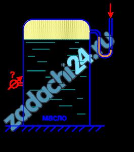 Определить, каким прибором следует измерять давление в баке, заполненном маслом, и показание этого прибора (в ат), установленного на глубине h=1,2 м, если показание U-образного ртутного манометра, установленного на поверхности масла, hрт=200 мм. Принять плотность масла ρмас=900 кг/м³ (рис.1.5).