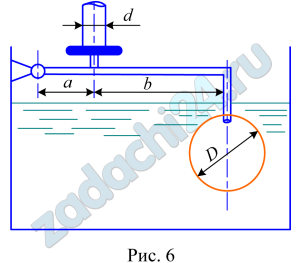 Вода, находящаяся под избыточным давлением р, заполняет резервуар через трубу диаметром d (рис.6). Определить минимально необходимый диаметр шарообразного поплавка, обеспечивающего автоматическое закрытие клапана при наполнении резервуара, если известны размеры a и b. Весом поплавка и рычага пренебречь.