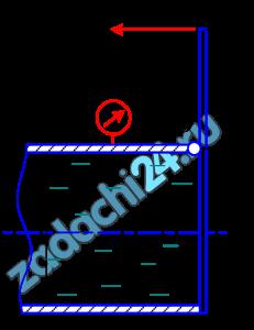 Определить величину усилия F, которое нужно приложить к рычагу, чтобы повернуть затвор OB вокруг оси O для выпуска жидкости (воды) из трубы. Задано показания вакуумметра рв=60 мм рт. ст.=7999 Па, диаметр трубы D=0,5 м и длина рычага а=0,4 м.