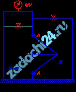 Круглое отверстие между двумя резервуарами закрыто конической крышкой с размерами D и L (рисунок 18). Закрытый резервуара заполнен водой, а открытый – жидкостью Ж. К закрытому резервуару сверху присоединен мановакуумметр MV, показывающий манометрическое давление рм или вакуум рвак. Температура жидкостей 20 ºС, глубины h и H. Определить силу, срезывающую болты A, и горизонтальную силу, действующую на крышку. Данные для решения задачи выбрать в соответствии с вариантом задания из таблицы 6.