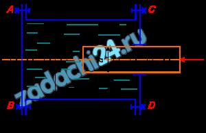 Определить нагрузку на болты крышек AB и CD гидравлического цилиндра диаметром D, если к плунжеру диаметром d приложена сила F (рис. 2.29).