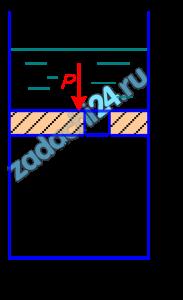 На поршень диаметром D=100 мм (рис. 10.25) действует сила Р=1 кН. Определить скорость движения поршня при диаметре отверстия в поршне d=2 мм и толщине поршня а=8 мм. Противодавлением воды, прошедшей через поршень, и трением поршня пренебречь.