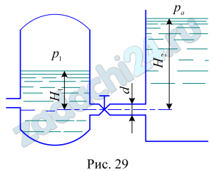 Вода перетекает из напорного бака, где избыточное давление воздуха рм, в открытый резервуар по короткой трубе диаметром d, на которой установлен кран. Чему должен быть равен коэффициент сопротивления крана для того, чтобы расход воды составлял Q? Высоты уровней H1 и H2. Учесть потерю напора на входе в трубу (ζвх=0,5) и на выходе из трубы (рис. 29).