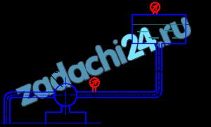 Определить давление р1, которое должен создать насос в начале нагнетательного трубопровода, для обеспечения перекачки жидкости с расходом Q (л/мин) (см. по варианту) в бак с абсолютным давлением р2 (ата), если длина горизонтального участка трубы L (м) вертикального h (м), диаметр трубы d (мм), наполнение бака Н (м). Материала трубопровода – чугун. Эквивалентная шероховатость - Δ=0,3 мм.