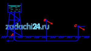 Из водонапорной башни А с отметкой уровня горизонта воды 20,0 м вода подается потребителям В и С с расходами QB и QC по трубам диаметром и длиной d1, l1 и d2, l2 соответственно (рис. 5.1). Определить отметки в пунктах B и C, на уровне которых будут обеспечены заданные расходы. Построить пьезометрическую линию, показать эпюру потерь напора. Трубы водопроводные нормальные. Потерями напора в местных сопротивлениях принять равными 5% от потерь по длине.