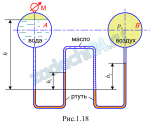 Два резервуара А и В, линии центров которых совпадают, соединены двухколенным ртутным манометром. Определить, каким прибором следует измерять давление воздуха в резервуаре рх, если давление на поверхности воды в резервуаре А рман=0,18 ат, а разности уровней ртути в дифференциальном манометр: h1=100 мм; h2=120 мм. Уровень ртути в левом колене расположен ниже уровня воды в резервуаре А на величину h=0,5 м. Пространство между уровнями ртути в манометре заполнено маслом плотностью ρмас=880 кг/м³. Принять плотность ртути ρрт=13,6·103 кг/м³. Плотностью воздуха при расчетах можно пренебречь (рис. 1.18).