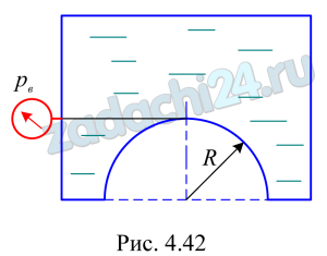 Построить тело давления и определить силу давления жидкости на полусферическую крышку и угол ее наклона к горизонту α (рис. 4.42) при следующих данных: радиус образующей сферы R=1,8 м, плотность жидкости ρ=750 кг/м³, вакуумметрическое давление рв=40 кПа.
