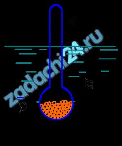 Ареометр (рис. 5.4) массой m=35,3 г имеет диаметр трубки d=30 мм. Объем сферической части V=15 см³. Определить глубину Н, на которую погрузится ареометр в спирт плотностью ρ=700 кг/м³.