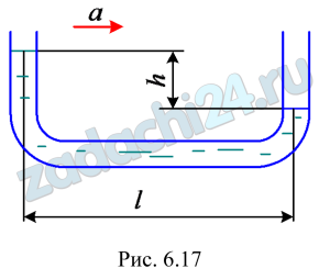 Для измерения ускорения горизонтально движущегося тела может быть использована закрепленная на нем U-образная трубка малого диаметра, наполненная жидкостью (рис. 6.17). С каким ускорением а движется тело, если при движении установилась разность уровней жидкости в ветвях трубки h=10 см при расстоянии между ними l=20 см?