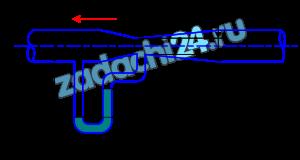Какую разность уровней h покажет дифференциальный манометр, заполненный водой, при расходе воздуха Q=8000 м³/ч (рис. 8.7), если плотность воздуха ρ=1,2 кг/м³? Трубопровод переменного сечения расположен горизонтально. Диаметр широкого сечения трубы d1=50 см, узкого d2=20 см. Потери напора hW=0,1 м.