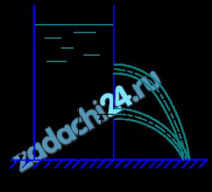 Из открытого бака (рис. 10.23) вода вытекает через два малых отверстия в атмосферу. Одно отверстие расположено на расстоянии h2=2 м, другое h1=3 м. Определить, при какой глубине воды в резервуаре дальность струи для обоих отверстий будет одинаковой.