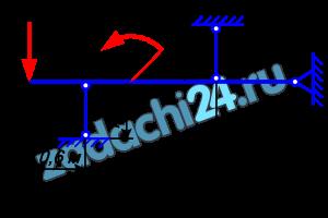 Определить требуемый размер поперечного сечения стальных стержней (рис.24), удерживающих в равновесии горизонтальный жесткий брус, шарнирно закрепленный одним концом, если [σ]=160 Н/мм². Определив требуемое значение площади А, найти напряжения в поперечных сечениях обоих стержней. Данные своего варианта взять из табл.9.