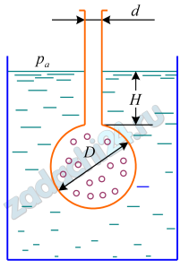 Плотность жидкости ρж измеряется ареометром, диаметр внешней трубки которого d=20 мм, диаметр колбы с дробью D=30 мм, а масса ареометра mа=0,054 кг. Определить ρж и ориентировочно вид жидкости (см. табл. 1.1), если глубина погружения ареометра составила Н=0,15 м.