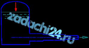 Из резервуара вытекает воды по трубопроводе переменного сечения с диаметрами d1, d2, d3 при уровне воды над осью трубы H. Длины участков l1, l2, l3. Определить давление на свободной поверхности воды в резервуаре p0 необходимое для создания скорости движения υ3 воды в выходном сечения трубопровода. Исходные данные приведены в таблице.