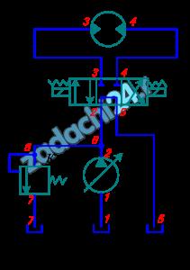 В гидроприводе вращательного движения рабочая жидкость – масло Ж, температура которого ТºС, из бака Б нагнетается регулируемым насосом Н через распределитель Р в гидромотор. Рабочий объем гидромотора V0, а частота вращения n. К.п.д. гидромотора: объемный η0=0,95, гидромеханический ηгм=0,80. Развиваемый гидромотором крутящий момент МК. Номинальные потери в распределителе при номинальном расходе Qном составляют Δрном=250 кПа. Длина каждого из участков стальных гидролиний равна l, диаметры всех линий равны d. Эквивалентная шероховатость Δэ=0,075 мм. Местные сопротивления в гидросистеме, кроме распределителя, принять в плавных поворотах гидролиний и в штуцерных их присоединениях. Коэффициент сопротивления одного штуцера принять равным ξш=0,60. Определить необходимую подачу насоса и к.п.д. гидропривода, если к.п.д. насоса равен ηн.
