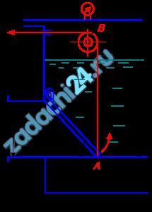 Поворотный клапан АО закрывает выход из бензохранилища в трубу квадратного сечения со стороной h, м. Прямоугольная пластина клапана опирается на срез трубы, сделанный под углом α=45º. В трубе жидкость отсутствует. Определить (без учета трения в опоре «О» клапана и в ролике «В») силу Т натяжения троса, необходимую для открытия клапана, если уровень бензина Н, м (см. по варианту), а давление над ним по манометру рм, кг/см². Удельный вес бензина 750 кг/м³.