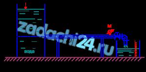 При закрытом кране на трубопроводе диаметром d=50 мм и длиной l=10 м показание манометра перед краном рман=0,18 ат. Определить показание манометра при открытом кране, если слив воды происходит в мерную емкость. За время t=30 с наполняется объем W=70,5 л. Труба водопроводная с абсолютной шероховатостью Δ=1,0 мм. Учесть потери напора на входе в трубу с острыми кромками. Принять коэффициент вязкости воды ν=1·10-6 м²/c (рис. 6.9).