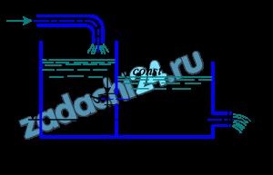 В бак, разделенный тонкой перегородкой (рис. 13), поступает воды с расходом Q. В перегородке имеется отверстие диаметром d1. Из второго отсека вода выливается наружу через цилиндрический насадок диаметром d2. Определить высоту уровня воды в отсеках над центром отверстий.