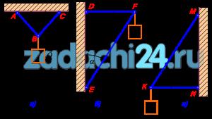 На рисунках а, б и в, как и в предыдущей задаче, схематически изображены стержни, соединенные между собой, с потолком и стенами посредством шарниров. К шарнирным болтам B, F и K подвешены грузы Q=1000 H. Определить усилия в стержнях для случаев а) α=β=45º, б) α=30º, β=60º, в) α=60º, β=30º.
