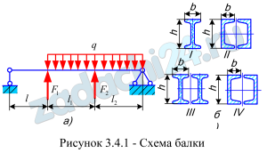 Для стальной балки (рис.3.4.1) требуется:  1) подобрать из условия прочности размеры сечений трех типов:  тип I - двутавр либо сечение, составленное из двух швеллеров или двутавров;  тип II - прямоугольное сечение с отношением высоты к основанию, равным отношению для сечения I типа;  тип III - круглое (сплошное сечение);  2) определить отношение масс соответствующих балок (подсчитать отношение площадей сечений).  Принять: q=50 кН/м, l=400 мм, материал - сталь Ст5, s=1,6; остальные данные взять из табл.3.5 и табл.3.2.