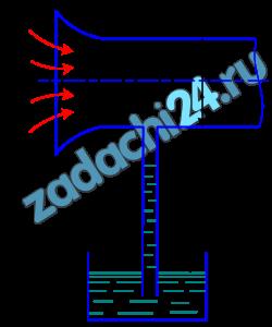 Определить весовой расход воздуха по трубе с плавно закругленным входом и цилиндрической частью диаметром D, если показание вакуумметра в виде вертикальной стеклянной трубки, опущенной в сосуд с водой, h. Коэффициент сопротивления входной части трубы (до места присоединения вакуумметра) ξ=0,1. Плотность воздуха 1,25 кг/м³ (рис. 28).