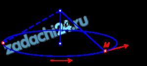Груз М массы 0,102 кг, подвешенный на нити длины 30 см в неподвижной точке О, представляет собой конический маятник, т.е. описывает окружность в горизонтальной плоскости, причем нить составляет с вертикалью угол 60º. Определить скорость груза υ и натяжение нити Т.