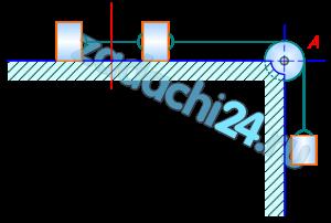 Три груза массы М каждый соединены нерастяжимой нитью, переброшенной через неподвижный блок А. Два груза лежат на гладкой горизонтальной плоскости, а третий груз подвешен вертикально. Определить ускорение системы и натяжение нити в сечении ab. Массой нити и блока пренебречь.